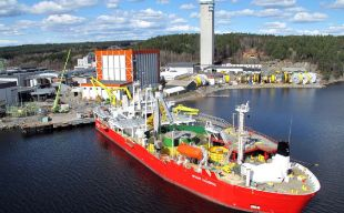 The Halden manufacturing plant (Norway) with Cable Laying Vessel Skagerrak
